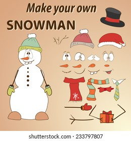 Funny hand drawn snowman. Do it yourself. Parts of face and body template for design work and animation. Face and body elements. Funny cartoon character. Vector illustration.