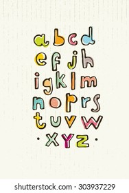 Funny Hand Written Alphabet For Children On Cardboard Background. Whimsical Vector Concept