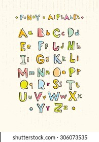 Funny Hand Written Alphabet For Children On Cardboard Background With Capital Letters. Whimsical Vector Concept
