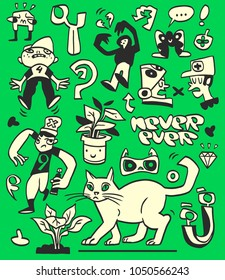 Funny hand-drawn doodles and characters collection on a green background. Vector illustration.