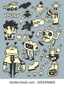 Funny hand-drawn doodles and characters collection. Vector illustration.