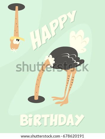 Funny Happy Birthday Card Cute Ostrich Stock Vector Royalty Free