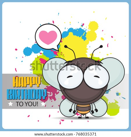 Funny Happy Birthday Greeting Card With Cartoon Bee Character