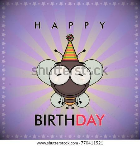 Funny Happy Birthday Greeting Card With Cute Cartoon Bee