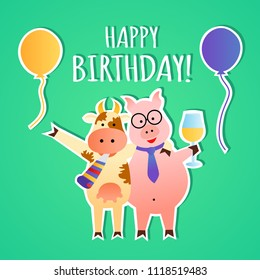 Funny happy birthday vector greeting card, pig and cow celebrating