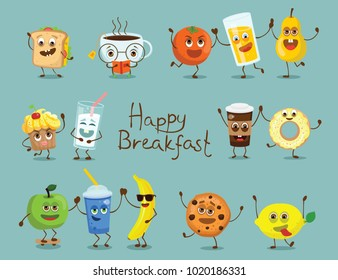 Funny happy breakfast food characters with emotions, includes fast food and fruits, vector illustrations.