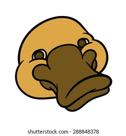 Funny happy cartoon platypus or duckbill  - sign is useful for creating a logo design