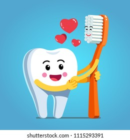 Funny happy cartoon tooth character holding hands and embracing smiling toothbrush expressing love & romance. Motivational clipart. Children dentistry, teeth hygiene character. Flat vector illustratio