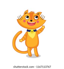 Funny Happy Cat Vector Illustration Isolated On White. Cute Cartoon Animal Character. Kids Style Vector.
