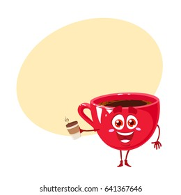 Funny and happy character of red cup of coffee with cup of coffee. Vector illustration isolated on white background with place for text