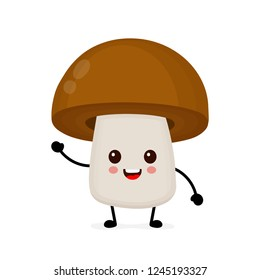 Funny happy cute happy small smiling mushroom porcini. Vector flat cartoon character illustration kawaii icon. Isolated on white background. Mushroom porcini edible character concept