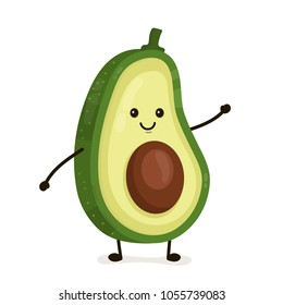 Funny happy cute happy smiling avocado. Vector flat cartoon character kawaii illustration icon. Isolated on white background. Fruit avocado concept