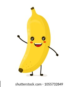 Funny happy cute happy smiling banana. Vector flat cartoon kawaii character illustration icon. Isolated on white background. Fruit banana concept