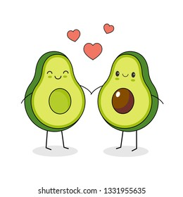 Funny happy cute happy smiling couple of avocado in love. Isolated on white background.