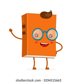 Funny happy cute smiling hipster book in glasses. Vector flat cartoon character illustration icon. Isolated on white background.Smart book concept