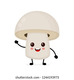 Funny happy cute happy smiling mushroom champignon. Vector flat cartoon character illustration icon. Isolated on white background. Mushroom champignon concept