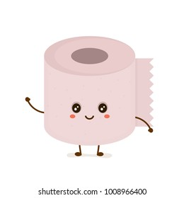 Funny happy cute smiling toilet paper. Vector flat cartoon character illustration icon. Isolated on white background