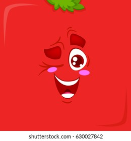 Funny and happy face of tomato on red background with green hair.