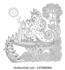 Funny happy fairy tale dragon drinking coffee at the table in the morning. Linear black and white doodle sketch. Tee-shirt print, adults coloring book page, poster, book cover