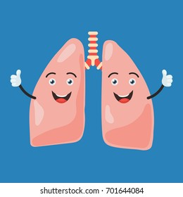 Funny happy lung character show hand thumb up. Cute human internal organ sign. Vector illustration in cartoon style