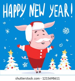 Funny Happy New Year card design with Pig disguised in Santa Claus suit. Vector illustration.
