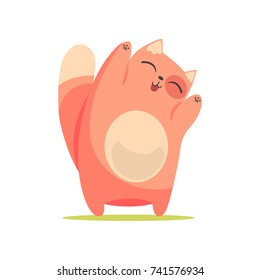 Funny happy red cat standing with raised paws, cute cartoon animal character vector Illustration