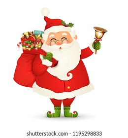 Funny, happy Santa Claus with glasses, red bag with presents, gift boxes, jingle bell isolated on white background. Santa clause for winter and new year holidays. Happy Santa Claus cartoon character.