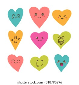 Funny happy smiley hearts. Cute cartoon characters. Bright vector set of heart icons. Creative hand drawn hearts with different emotions. Vector illustration