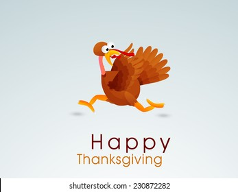 Funny Happy Thanksgiving Day celebrations concept with cute turkey bird running in fear on shiny blue background.