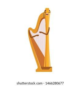 Funny Harp Musical Instrument Cartoon Character Vector Illustration