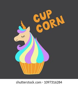Funny head unicorn in cupcakes. Design element for print on clothes.