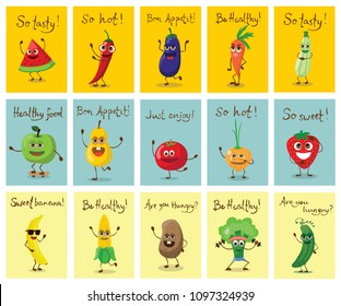 Funny healthy fruits and vegetables characters with emotions, vector illustrations.