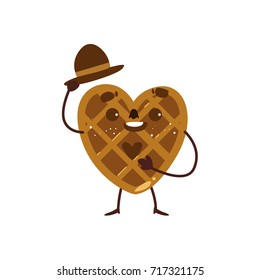 Funny heart shaped waffle, wafer character raising hat in greeting gesture, cartoon vector illustration isolated on white background. Funny smiling heart-shaped wafer character with human face