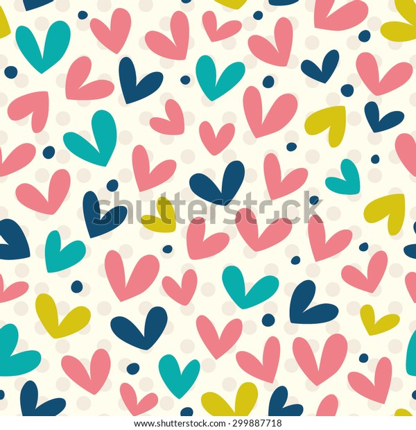 Funny hearts. Seamless vector pattern for your design. Great for Baby, Valentine's Day, Mother's Day, wedding, scrapbook, surface textures.