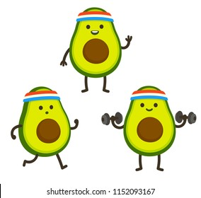 Funny heath and fitness illustration set. Cartoon avocado with sweatband jogging and lifting dumbbells. Cute sporty character drawing, cardio and weightlifting.