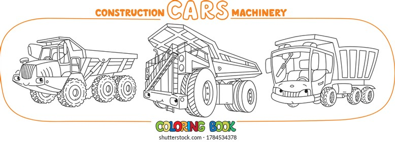 Funny heavy truck cars with eyes Coloring book set