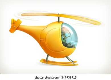 Funny helicopter, vector icon
