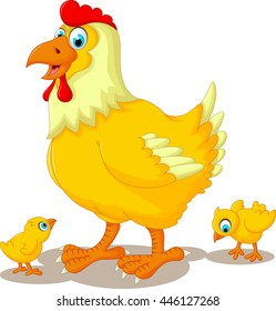 funny hen cartoon with her baby chicken
