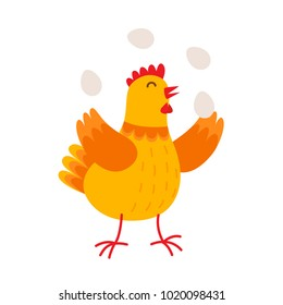 Funny hen is juggling by eggs vector flat illustration isolated on white background. Cute orange hen cartoon character.
