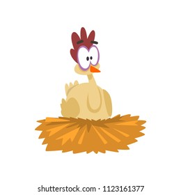 Funny hen sitting in the nest, comic cartoon chicken bird character with big eyes vector Illustration on a white background