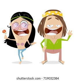 funny hippie couple clipart