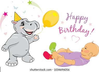 Funny hippo congratulates the baby on his birthday. Vector