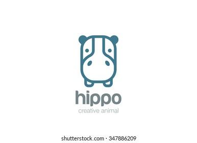 Funny Hippo Head Logo design vector template. Wild Safari Linear icon. Hippopotamus animal Logotype concept lineart style. Outlined illustration.
