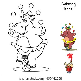 Funny hippo in a skirt on a unicycle juggling with balls. Coloring book. Cartoon vector illustration