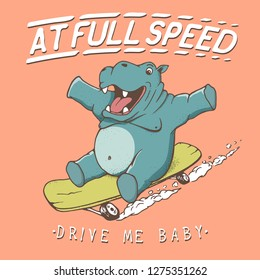 Funny hippopotamus rides on skateboard at full speed. Oldschool style.Prints design for t-shirts