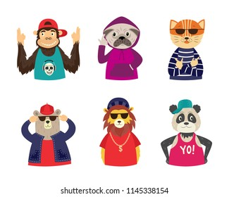 Funny hipster animal characters set. Cat , lion and bear in sunglasses, monkey dog and panda holding hands like a gun. Hip hop style concept. Vector isolated illustration.