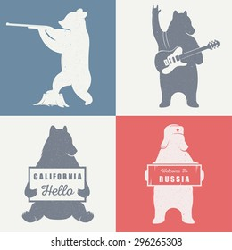 Funny hitchhiking bear with California sign and Russia sign  on a white background for billboards, posters and T-shirts. Vintage Illustration bear hunter and bear guitarist