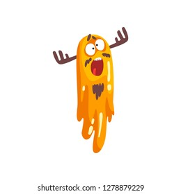 Funny horned slimy monster, colorful fabulous creature cartoon character vector Illustration