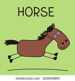 Funny horse in cartoon style running across the field.
