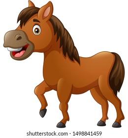 Funny horse cartoon. vector illustration